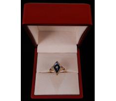 Art Deco prsteň Au briliant 0,04 ct,chalcedón 1,50 ct