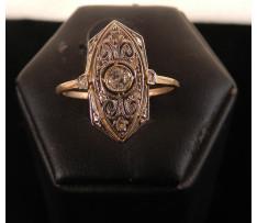 Art Deco prsteň Au briliantový 0,08 ct (9ks)