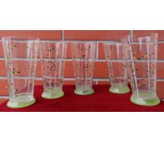 5 pohárov Czechoslovakia sklo maľované