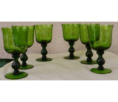 6 ks pohárov sklenných na stopke Art Deco