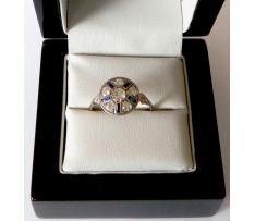 Art Deco prsteň Platina bril. 0,71 ct(8ks) synt.zafír 0,12 ct(5k