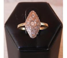 Art Deco prsteň Au briliantový 0,14 ct (9 ks)