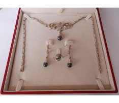 Art Deco set Au šperkov brilianty 1,49 ct Hematit 28,4 ct perla
