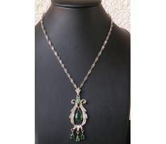 Art Deco zlatý náhrdelník smaragdy 1,46 ct a brilianty 0,12 ct