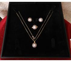 Art Deco zlatý set šperkov Opály 6,40 ct; synt. korund 0,96 ct a