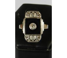 Art deco zlatý briliant prsten 0,13 ct a chalcedon 1,75 ct