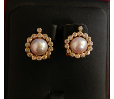 Zlaté Naušnice bril. cca 1,20 ct s perlami cca 14,10 ct