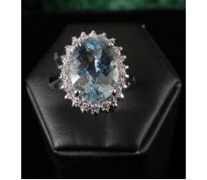 Au prsteň Akvamarín-Beryl 4,60 ct a bril.0,34 ct