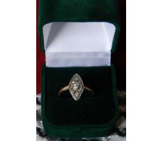 Briliantový zlatý prsteň 0,16 ct ČSR Art-Deco