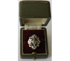 Dámsky Au prsteň smaragd 0,23 ct a brilianty 0,24 ct Rusko