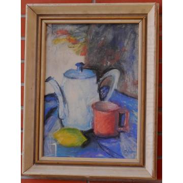 Guderna Lad.(1921-99)-Zátišie s konvicou ,hrnčekom a citrónom