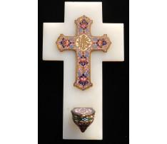 Kropenička Kríž mramor-onyx ,smalt, email k.19. st.