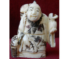 Netsuke Budha s batohom Čína 19 stor.
