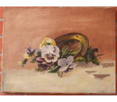 Csordák L-Zátišie s kvetmi a tanierom