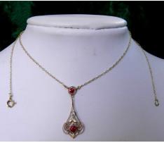 Secesný Au náhrdelník briliantom a synt.rubínmi