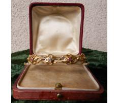 Secesný zlatý náramok s briliantmi a ružovým Zafírom