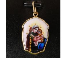 Zlatý medailon-Svatá Maria matko Boží k.19 stor.
